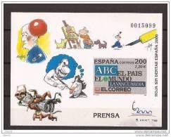 ES3766-LA012TVBH.Spain Espagne EXPO 2000 HOJA SIN DENTAR PRENSA.El Mundo,El Pais,La Vanguardia Etc..LUJO - Blocs & Hojas