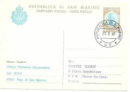 LBL11 - SAN MARINO EP CP REPIQUE UFFICIO FILATELICO VOYAGE 27/3/1968 - Entiers Postaux