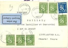 LBL11 - FINLANDE LETTRE AVION KAJAANI / LIVRY GARGAN 25/7/1949 - Posta Aerea
