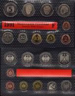 Deutschland 1991 Prägeanstalt F Stg 25€ Stempelglanz Kursmünzensatz Der Staatlichen Münze Stuttgart Set Coin Of Germany - [ 7] 1949-…: BRD