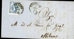 REGNO 15 CENT SASSONE N 12 1863 CREMONA AMBULANTE DA DESENZANO A MILANO - 1861-78 Vittorio Emanuele II