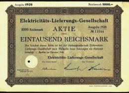 1928  Aktie Hist. Wertpapier  ,  Elektricitäts-Lieferungs-Gesellschaft   , 1000 Eintausend Reichsmark - Electricité & Gaz