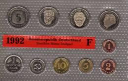Deutschland 1992 Prägeanstalt F Stg 25€ Stempelglanz Kursmünzensatz Der Staatlichen Münze Stuttgart Set Coin Of Germany - [ 7] 1949-…: BRD