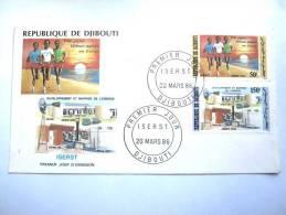 CPA ENVELOPPE POSTALE PREMIER JOUR DJIBOUTI EDD 1986 ETAT TBE