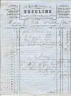 FACTURE - DOMINOS - PORTE MONNAIE - DEPOIT DE GRAISSE A ROUES - CORDAGES - ESSELINE 9 RUE GUIBERT CAEN - France