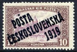 CZECHOSLOVAKIA 1919 Overprint On Hungary 10 Kr LHM / *  Michel 137 - Czechoslovakia