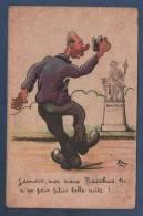 CP HUMORISTIQUE - IVROGNE DEVANT UNE STATUE DE BACCHUS - ILLUSTRATEUR XAV. - JG PARIS 813/6 - Humor