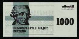 "Test Note ""OLIVETTI NL "" Type A, Testnote, 1000 UNITS, Kopf Links, Beids. Druck, RRRRR, UNC - Niederlande"