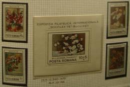 Paintings P-R Romania MNH**,1979 Complete Set & S/S, Flowers, Expo Philatelic SOCFILEX 79 ST.LUCHIEN - 1948-.... Republics