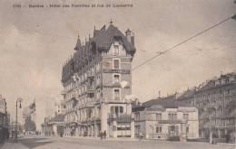 GENEVE- SUISSE SCHWEIZ SVIZZERA- HOTEL DES FAMILLES ET RUE DE LAUSANNE VG 1915 BELLA FOTO D´EPOCA ORIGINALE 100% - GE Ginevra