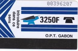 Gabon, GAB-06, New Logo , 3250F, Blue, Blank Reverse, CN With Barred O, 2 Scans. - Gabon