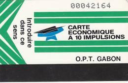 Gabon, GAB-10, New Logo , 10Imp, Green, Reverse : Avec Un Compte, 2 Scans. - Gabon