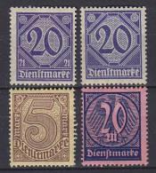 ## Germany 1920-22 Mi. 19, 26, 33, 72 Zahldienstmarken MH* - Service