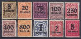 ## Germany 1923 Mi. 89-98 Dienstmarken Overprinted Complete Set MNH** / MH* - Officials