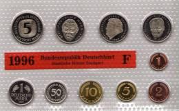 Deutschland 1996 Prägeanstalt F Stg 50€ Stempelglanz Kursmünzensatz Der Staatlichen Münze Stuttgart Set Coin Of Germany - [ 7] 1949-…: BRD