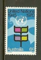 AUSTRALIA 1970 MNH Stamp(s) 25 Years U.N.O. 454 - 1966-79 Elizabeth II