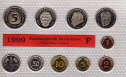 Deutschland 1999 Prägeanstalt F Stg 35€ Stempelglanz Kursmünzensatz Der Staatlichen Münze Stuttgart Set Coin Of Germany - [ 7] 1949-…: BRD