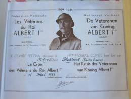 DIPLOME CROIX DES VETERANS DU ROI ALBERT 1 / BELGIQUE 1969 - Militari