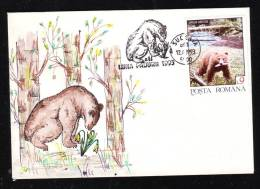 BEAR, OURS 1993, STAMPS ON COVER,RARE CACHET SUCEAVA, ROMANIA - Ours