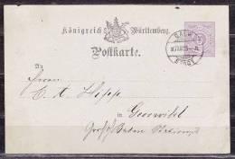 Wuerttemberg P 20, Calw Stadt Nach Goerwihl 1875 (36084) - Stamped Stationery
