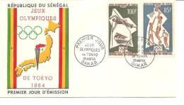 Enveloppe Premier Jour -timbres - Republique  Senegal - Dakar- Jeux Olympiques Tokyo -1964- A Voir - Vieux Papiers