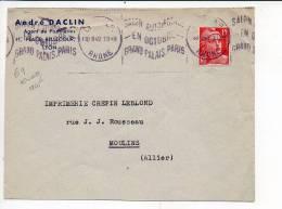 """69 Lyon R.P. 1949 - Flamme Krag  """"Salon Automobile Paris"""" Sur Gandon N° 813 Seul / Entète Agent Papeteries A. Daclin - 1921-1960: Modern Tijdperk"""