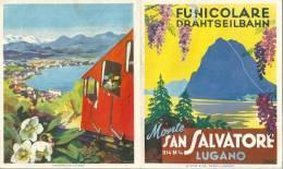 Faltprospekt  Funicolare Drahtseilbahn  Monte San Salvatore Lugano           1953 - Europe