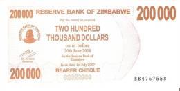 BILLETE DE ZIMBABWE DE 200000 DÓLARES DEL AÑO 2008  (BANKNOTE) SIN CIRCULAR, UNCIRCULATED - Zimbabwe