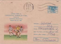 Coupe Du Monde De Football Italia 1990,covers Stationery,entier Postal Send To Mail Roumanie. - 1990 – Italie