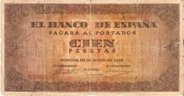 BILLETE DE ESPAÑA DE 100 PTAS 20/05/1938 SERIE A (BANK NOTE) - [ 3] 1936-1975 : Régimen De Franco