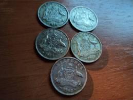 AUSTRALIA - LOTTO  MONETE VARI ANNI (1946,1950,1960,1962 E 1963) - Australia