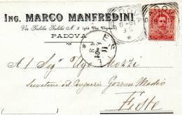 1901  CARTOLINA INTESTATA   CON ANNULLO PADOVA  + ESTE - Marcophilia