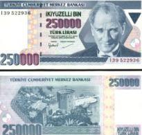 Turkey #211, 250.000 Lira, L.1970 (1992), UNC - Türkei