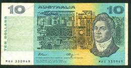 AUSTRALIA , 10 DOLLARS 1990 , P-45f - Decimal Government Issues 1966-...