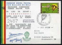 1972 Mali Germany Charity Balloon Flight Postcard DKSB12 - Mali (1959-...)