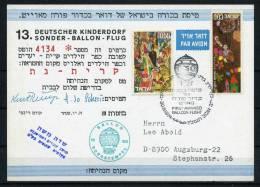 1974 Israel Germany Charity Balloon Flight Postcard DKSB13 - Israel