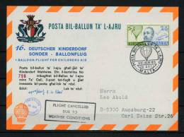 1975 Malta Germany Charity Balloon Flight Map Postcard DKSB16 - Malta