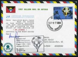 1984 Antigua Pro Juventute Charity Balloon Flight Postcard DKSB29 - Antigua And Barbuda (1981-...)