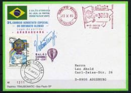 1985 Brazil Sao Paulo Charity Balloon Flight Meter Mark Postcard DKSB31 - Unclassified
