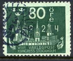 SWEDEN 1924  World Postal Congress 80 öre  Used.  Michel 155 - Sweden