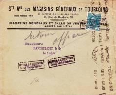 """1934 - ENVELOPPE Avec YVERT N°291 De TOURCOING (NORD) Pour VERVIERS - GRIFFE BELGE """"RETOUR à L´ENVOYEUR"""" SUR LE TIMBRE - Marcofilie (Brieven)"""