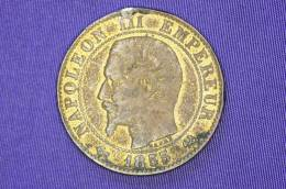 France - 5 Centimes - Napoleon III - B, Rouen - 1855 Anchor - C. 5 Centimes