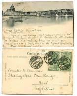 SWITZERLAND 1900 RAZOR Cancel 5c UPU's Ouchy U/B Postcard Used - Schweiz