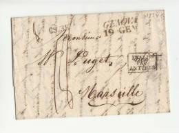 DB705-1854 Lettera Contenuto GENOVA-MARSIGLIA-timbro TRANSITO ANTIBES+CS.3R - 1. ...-1850 Vorphilatelie
