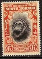 BORNEO NORD: Faune. Yvert N° 235 Avec Charniere - Chimpanzés
