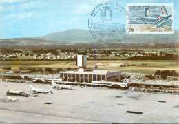 CM-Carte Maximum Card # France-1982 #  Transports # Aviation # Architecture # Airport,Aéroport De Bâle-Mulhouse - Zonder Classificatie