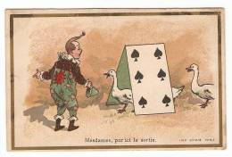 Chromo Camis Horlogerie E. Riquier Rue Saint Antoine Paris Cirque Dresseur Oie Carte à Jouer Clown Magie A24-19 - Chromos