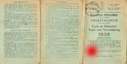 Carte De Réduction - Vacances Populaires - 1939 - Cachets Commune De Luttre, Poste Et ACEC De Charleroi    (2563) - Kaarten