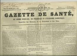 Numéro 1 - 1841 GAZETTE DE SANTE,CHIMIE MEDICALE,PHARMACIE, DENTISTERIE,  SCIENCES, MEDECINE -GENERALITE 5c SEINE - Matériel Médical & Dentaire