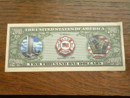 2001 DOLLARS ( Fake ) IN MEMORY September 11 ( voir Photo pour d�tail svp / for Grade, please see photo ) !